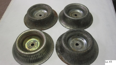 """4 Unknown Metal Dishes : 7-1/4"""" Outside Diameter.  """"12902"""""""