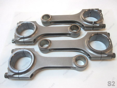 """Connecting Rods with ARP 625 Plus Bolts : Measurements/specs are pictured. Center to center length is about 113.6mm or 114mm or 4.48"""", hard to tell... but the big end and small end measurements are accurate. ARP 625 Plus 15 on the bolts, 0014, 0022, 0032, & 0059 stamped on the side (1 code for each rod)."""