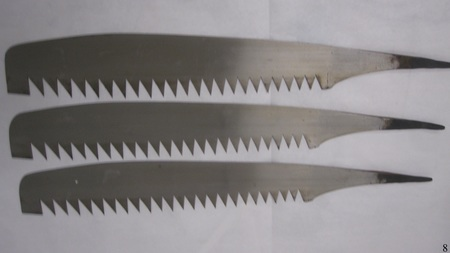 Hand Saw Blades : 25 inches, see images.  Teeth are about an inch long.   None.