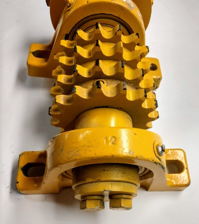 "Gang Sprocket Assembly : Total Length - 15"", Major Diameter - 5 1/2"", Shaft - 3"", 78 lbs. 13 oz. On Pillow Block Bearings Only."