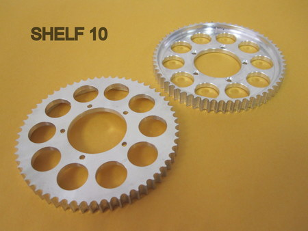 """Aluminum Sprockets : 3.75"""" across. 3/8"""" thick None"""